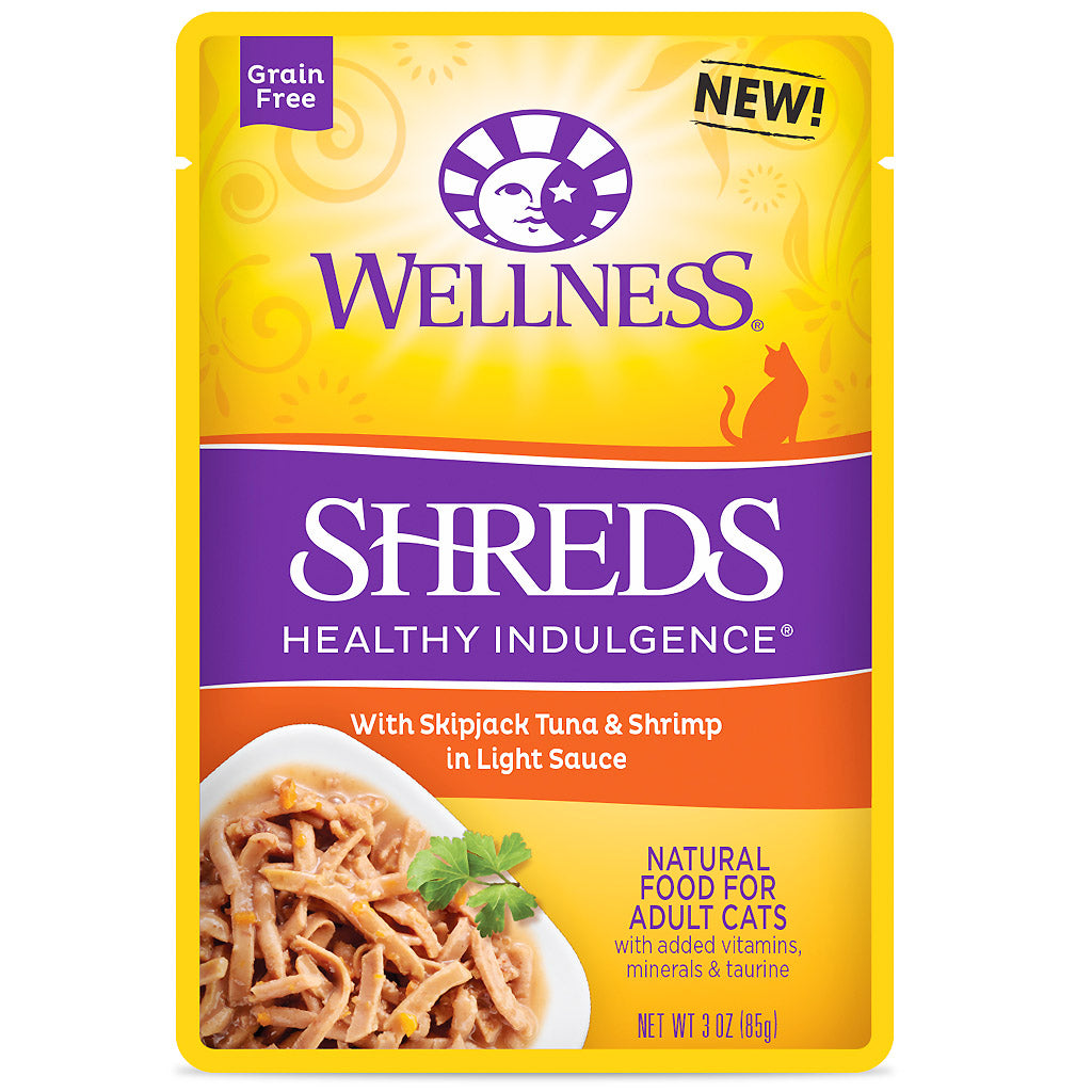 BUY 3 FREE 1 [NEW]: Wellness® CORE Healthy Indulgence Shreds Tuna & Shrimp Wet Cat Food 85g