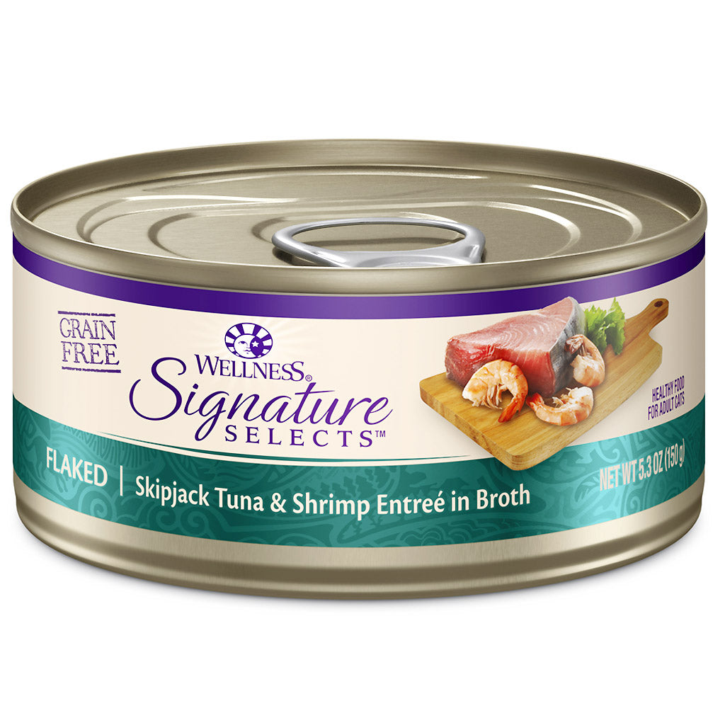 25% OFF: Wellness® CORE Signature Selects Flaked Tuna & Shrimp Grain-Free Canned Cat Food 150g (12/24pcs)