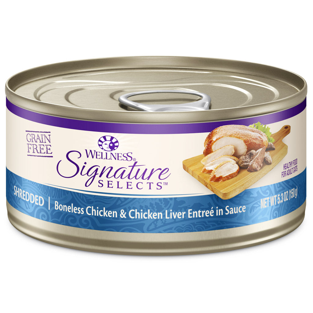 25% OFF: Wellness® CORE Signature Selects Shredded Chicken & Chicken Liver Grain-Free Canned Cat Food 150g (12/24pcs)