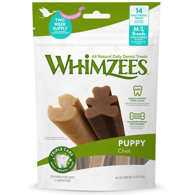 BUY 2 FREE 1 [NEW]: Whimzees® Natural Puppy Dental Chew Dog Treats – M/L (210g)