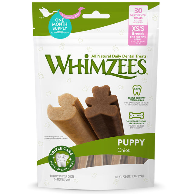BUY 2 FREE 1 [NEW]: Whimzees® Natural Puppy Dental Chew Dog Treats – XS/S (224g)