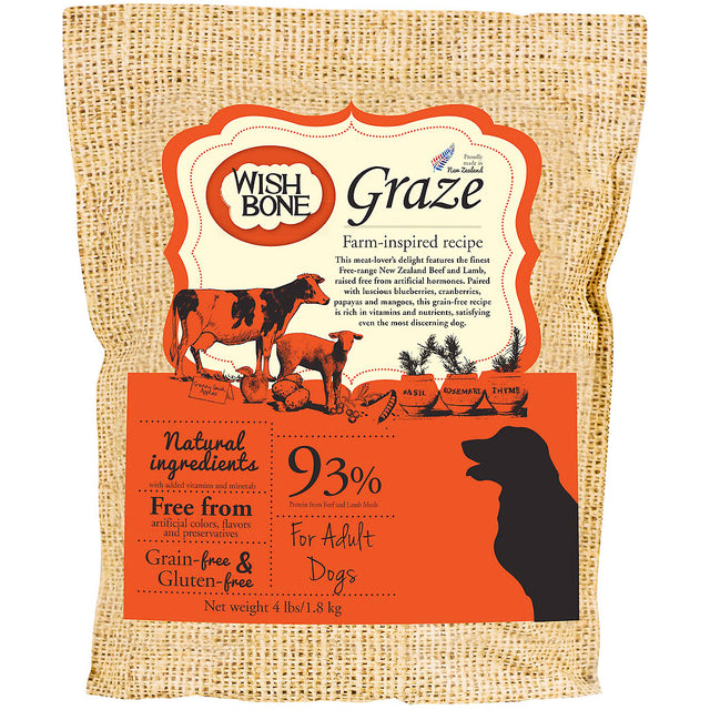 30% OFF + FREE TREATS: Wishbone® Graze Beef & Lamb Grain-Free Dry Dog Food (3 sizes)