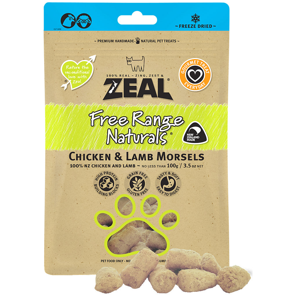 BUY 2 FREE 1: Zeal® Free Range Naturals Chicken & Lamb Morsels Freeze-Dried Dog & Cat Treats (100g)