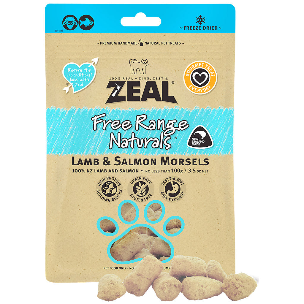 BUY 2 FREE 1: Zeal® Free Range Naturals Lamb & Salmon Morsels Freeze-Dried Dog & Cat Treats (100g)