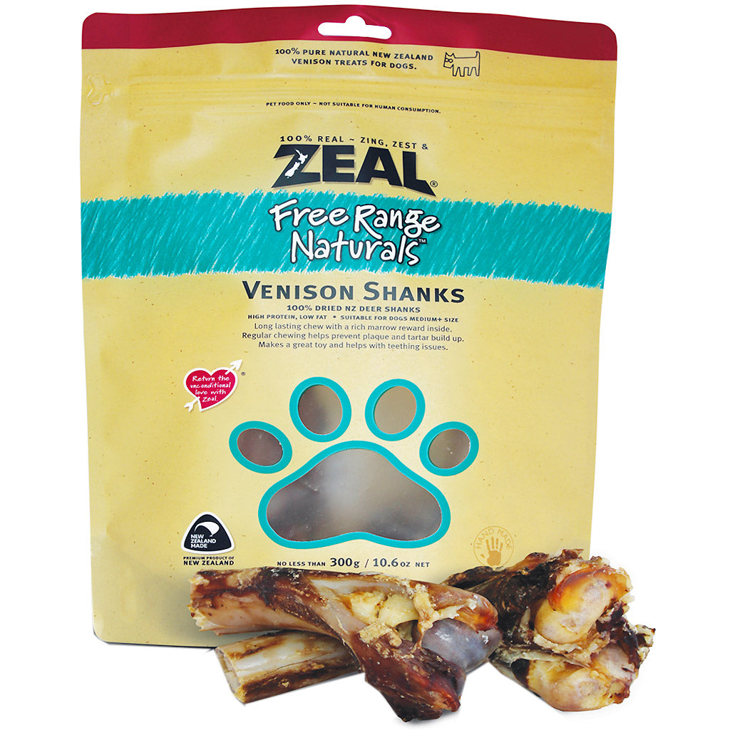 BUY 2 FREE 1: Zeal® Free Range Naturals Venison Shanks Dog Treats 300g