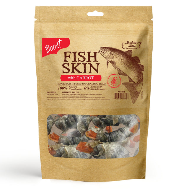 33% OFF [NEW]: Absolute Bites® Air-Dried Fish Skin with Carrot Dog Treats (2 sizes)