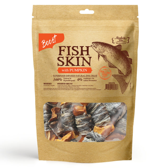 33% OFF [NEW]: Absolute Bites® Air-Dried Fish Skin with Pumpkin Dog Treats (2 sizes)
