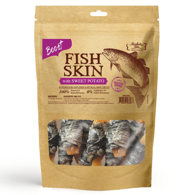 33% OFF [NEW]: Absolute Bites® Air-Dried Fish Skin with Sweet Potato Dog Treats (2 sizes)