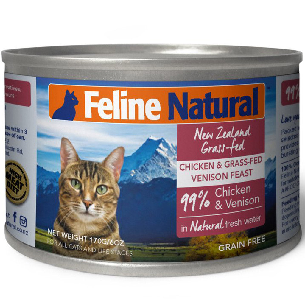 20% OFF: Feline Natural® Chicken & Venison Canned Cat Food 170g (6/12/24pcs)