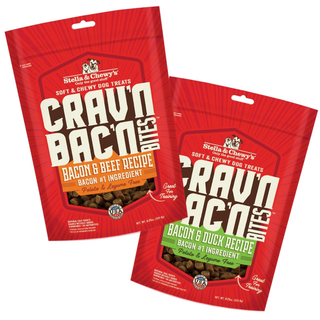 2 FOR $25 [PETSALE]: Stella & Chewy's® Crav'n & Bac'n Bites Dog Treats 233g (4 Flavours)