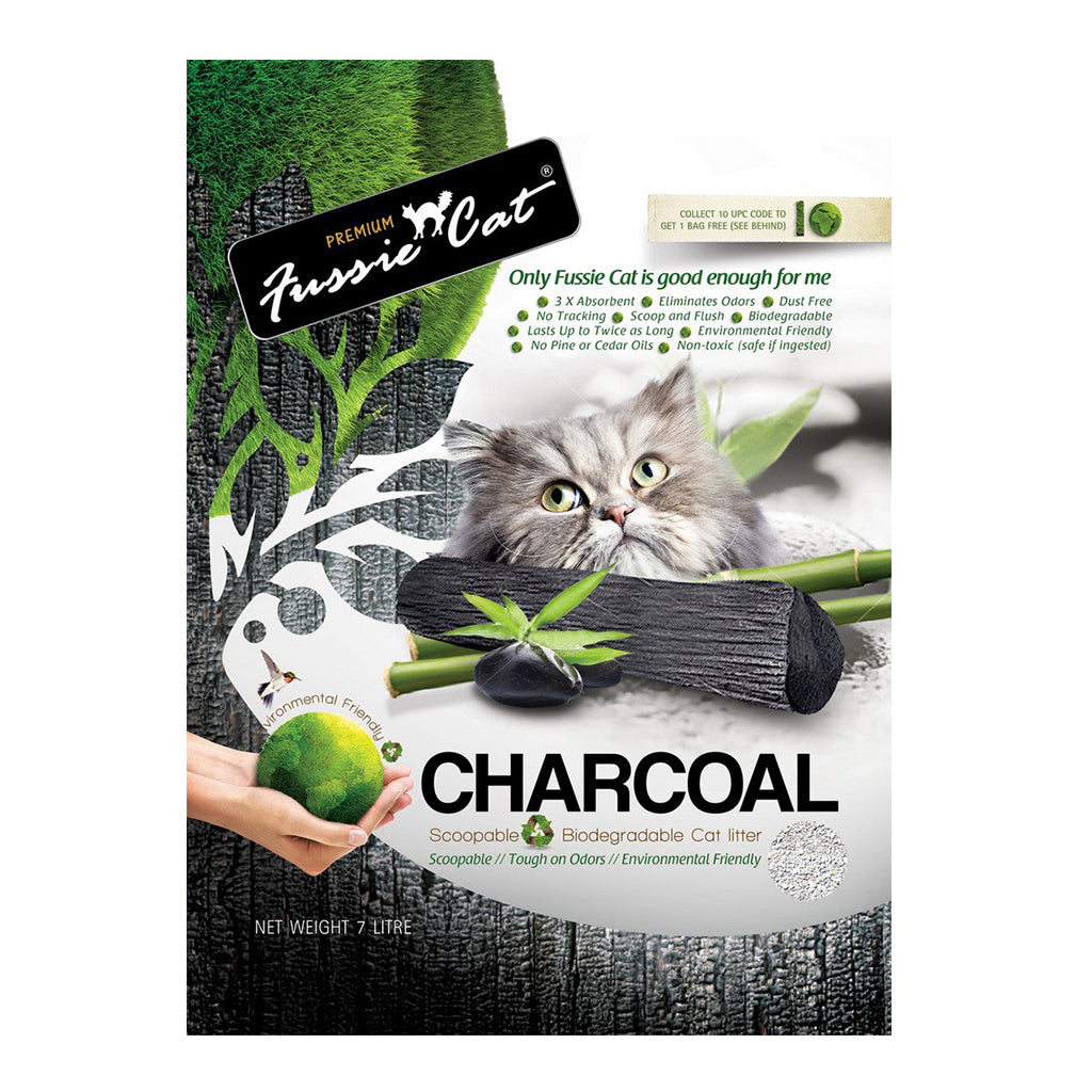 6 FOR $69 [SAVER]: Fussie Cat® Natural Charcoal Paper Cat Litter (7L)