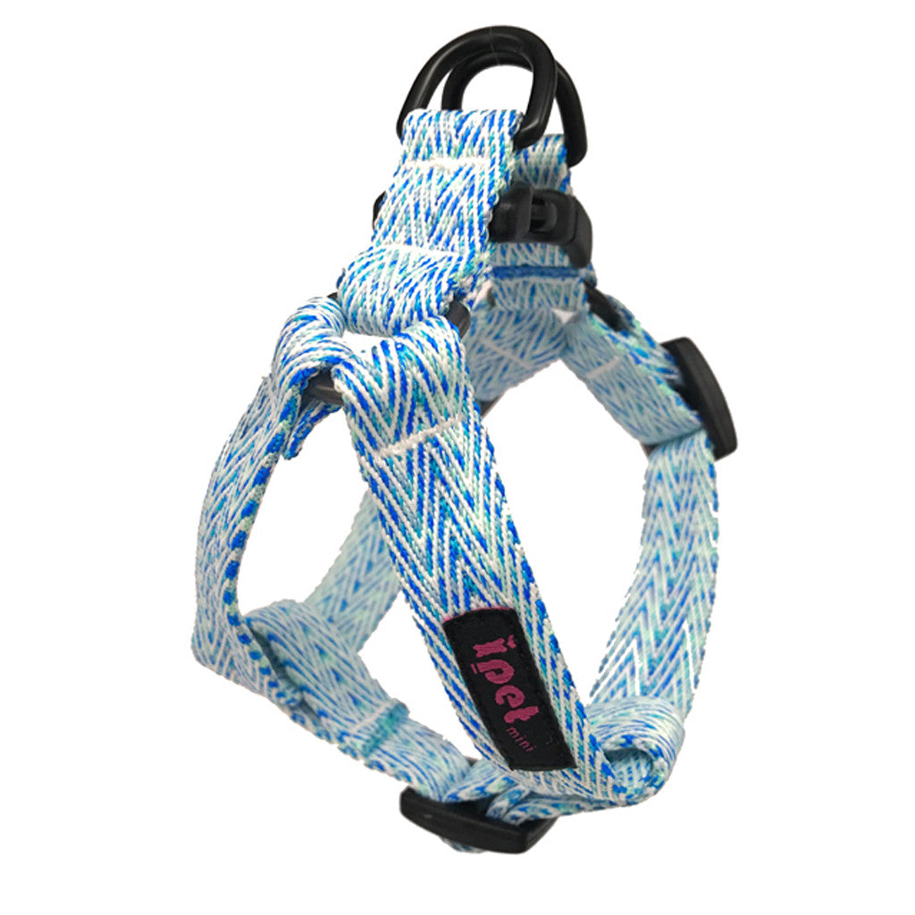 [SALE -25%] Ipet Mini® Herringbone Collection Dog Harness (Blue & White)