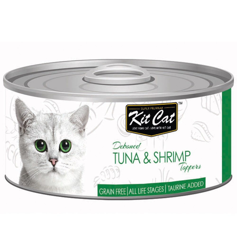 $0.95 ONLY [GSS20]: Kit Cat® Deboned Tuna & Shrimp Toppers Grain-Free Canned Cat Food 80g (24pcs)