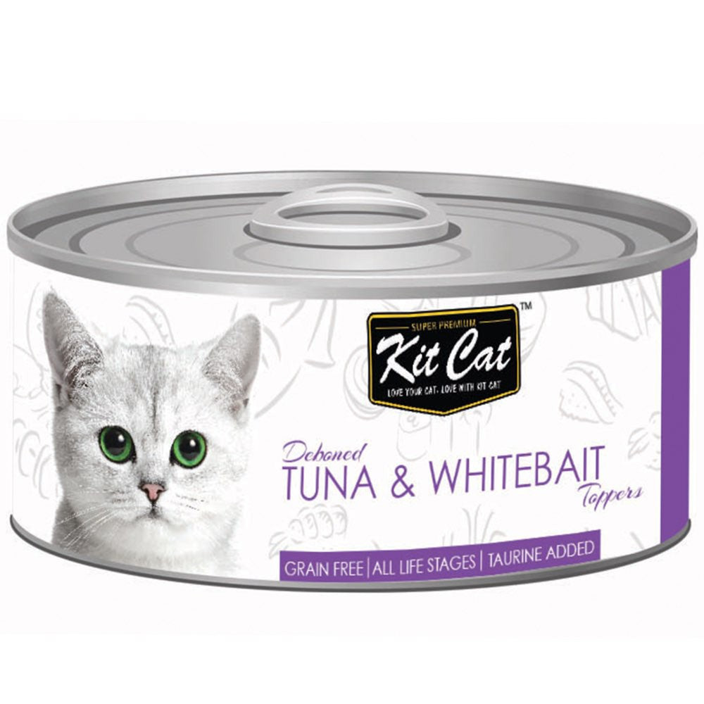 $0.95 ONLY [GSS20]: Kit Cat® Deboned Tuna & Whitebait Toppers Grain-Free Canned Cat Food 80g (24pcs)