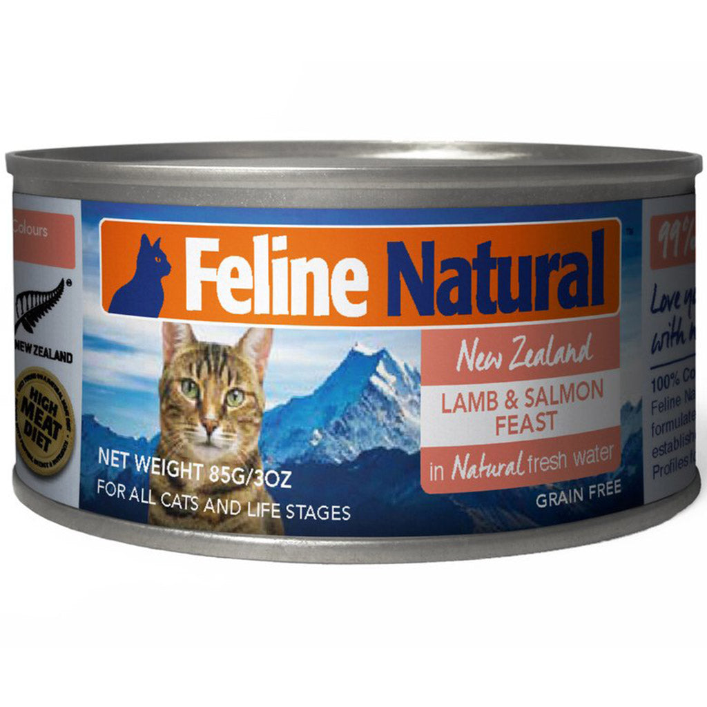 20% OFF: Feline Natural® Lamb & Salmon Canned Cat Food 85g (6/12/24pcs)