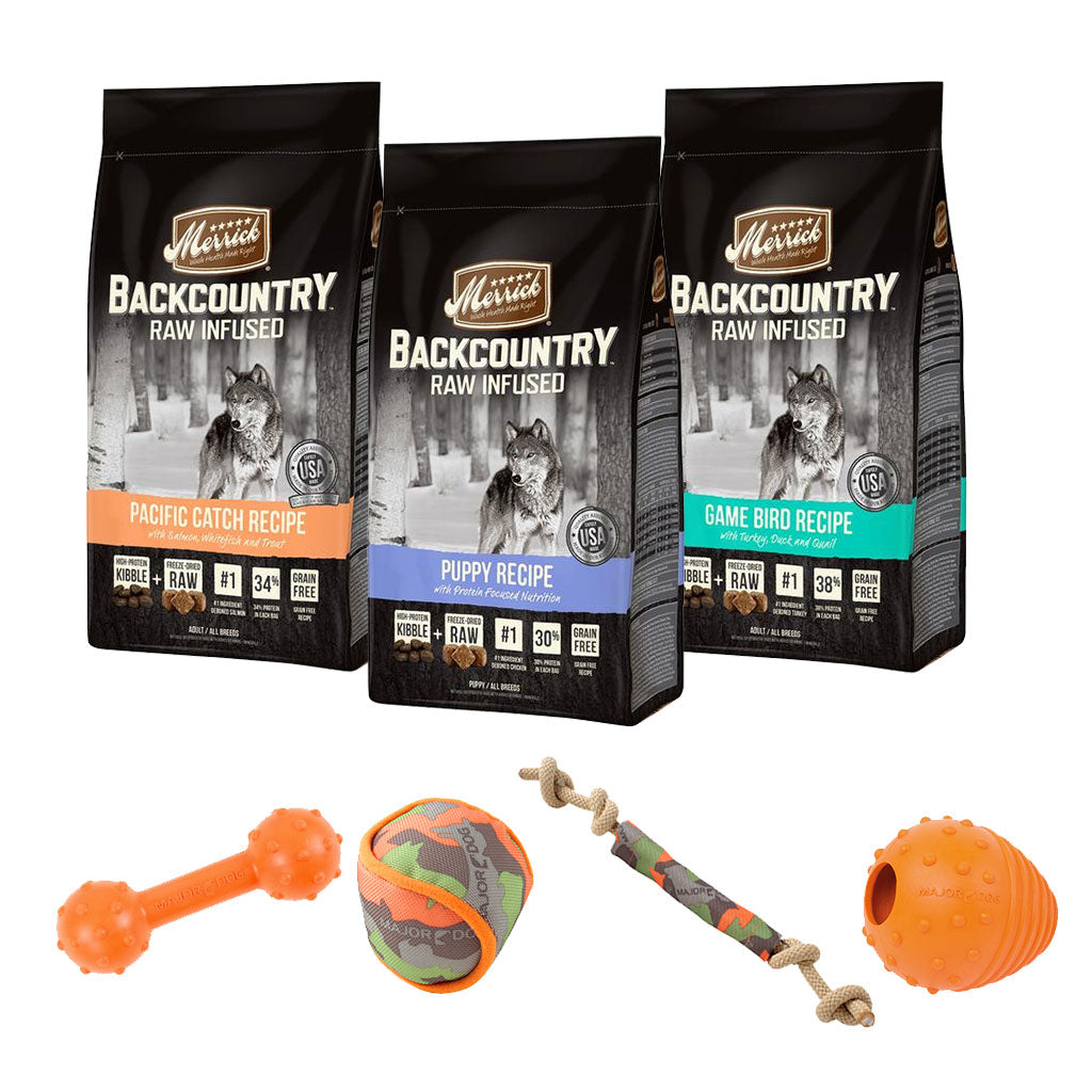 55% OFF + FREE TOY [SAVER]: Merrick® Backcountry Raw Infused Grain-Free Dry Dog Food 10kg (3 Flavours)
