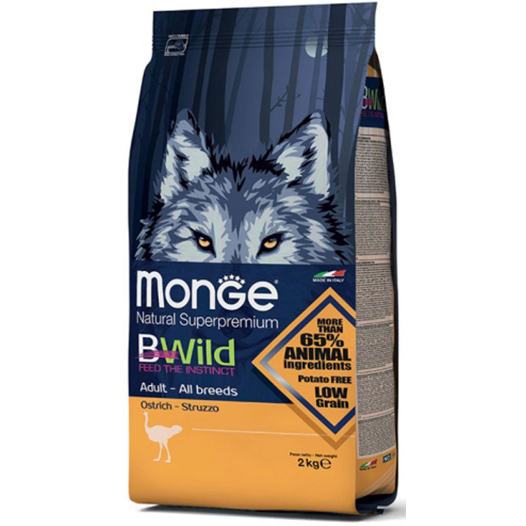 25% OFF: Monge® BWild All Breeds Adult Ostrich Dry Dog Food (2kg)