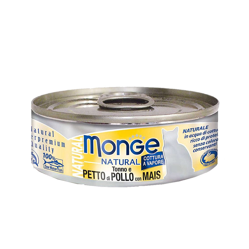 25% OFF: Monge® Natural Tuna & Chicken with Corn Canned Cat Food (12/24pcs)