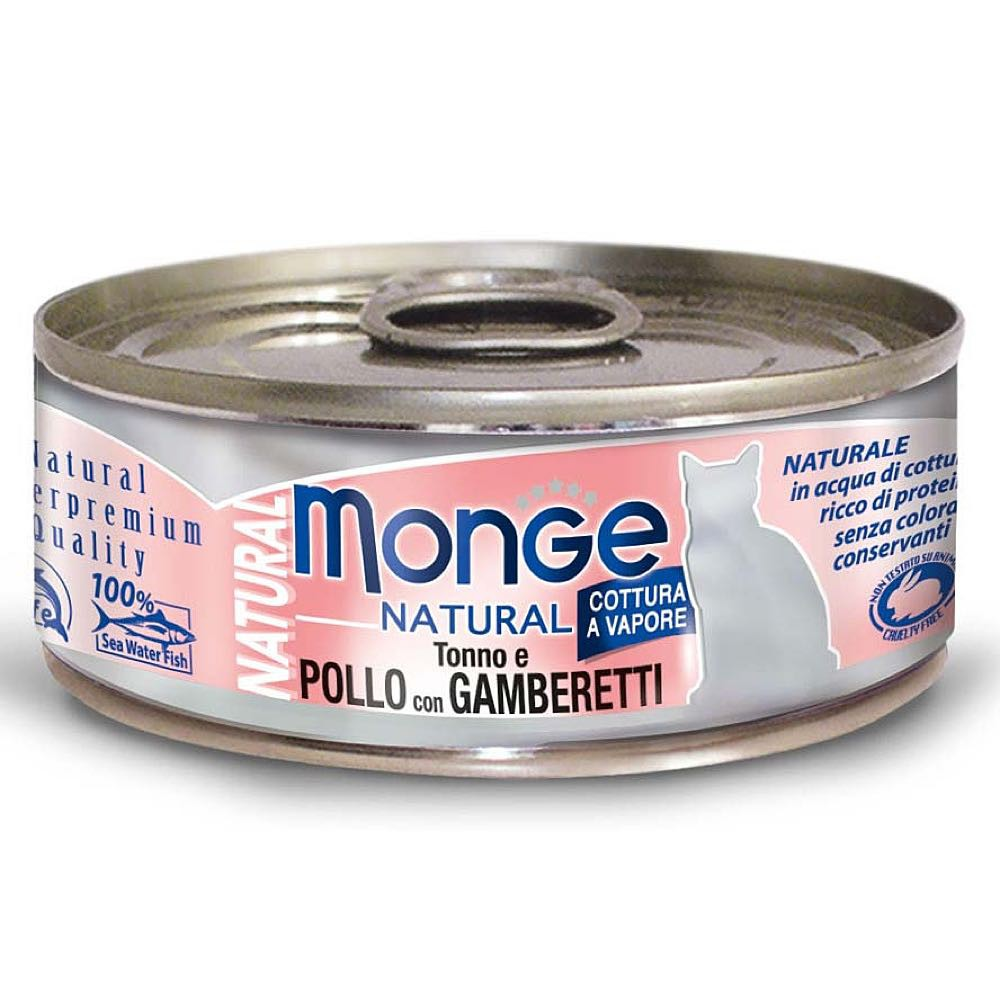 25% OFF: Monge® Natural Tuna & Chicken with Shrimp Canned Cat Food (24pcs)