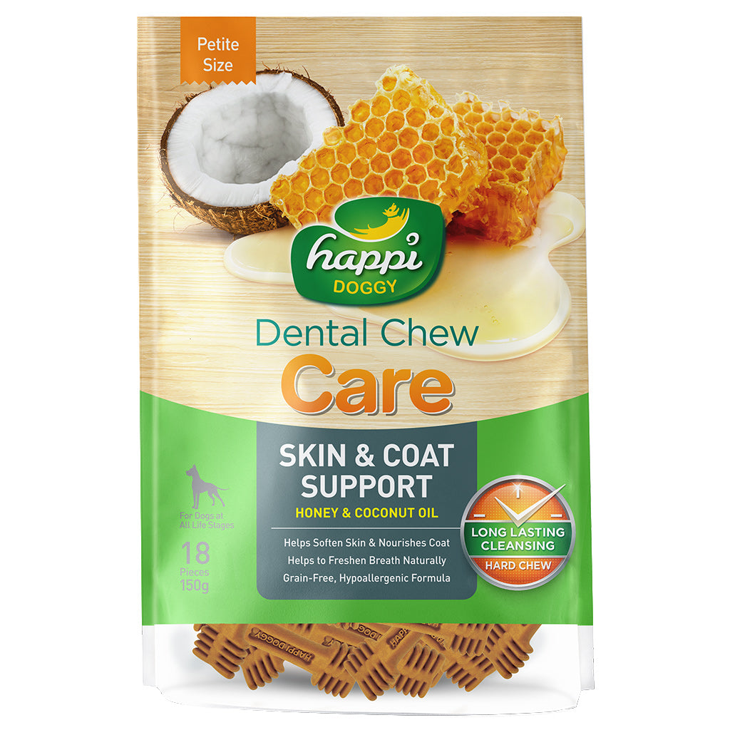 "BUY 2 FREE 1 [BFCM]: Happi Doggy® Care (Skin & Coat Support) Dental Chews 2.5"" (150g)"