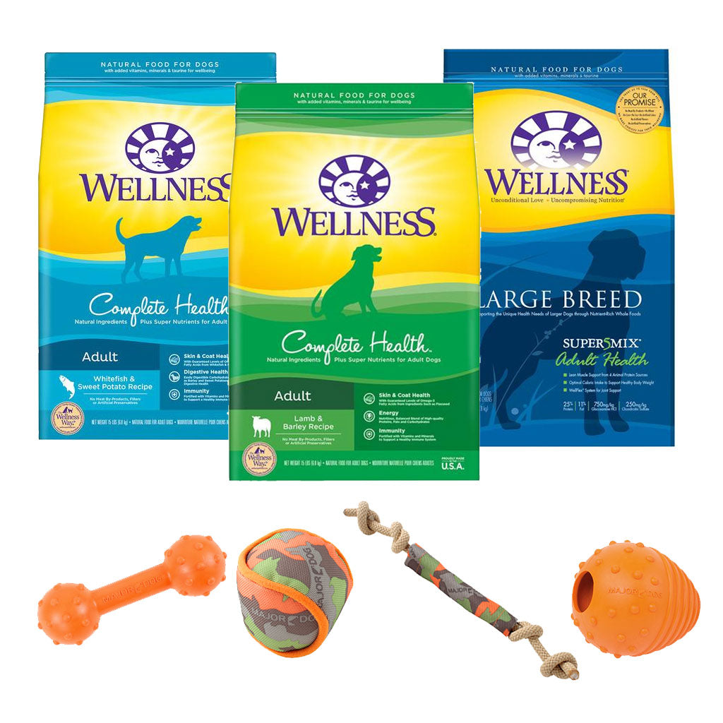 30% OFF + FREE MAJOR DOG® TOY [XMAS20]: Wellness® Complete Health Dry Dog Food (4 Flavours)