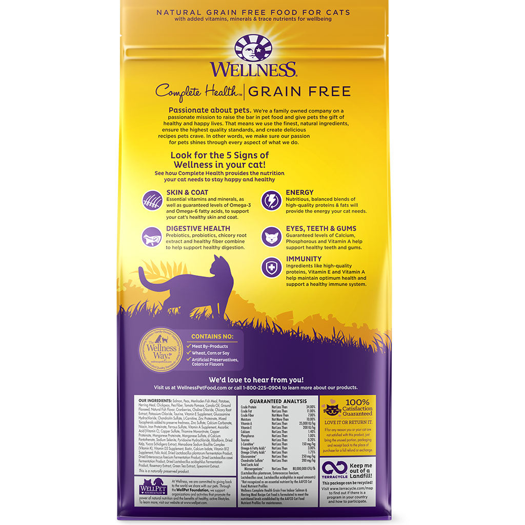 30% OFF + FREE TREATS: Wellness® Complete Health Grain-Free Indoor (Salmon & Herring) Dry Cat Food (2 sizes)