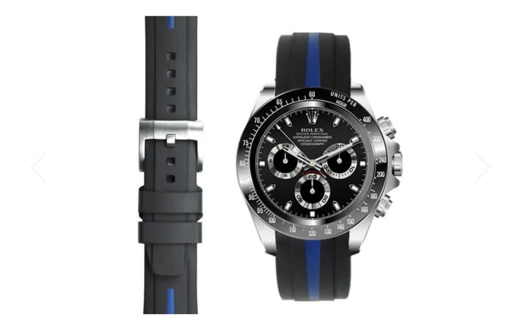 EVEREST 雙色膠帶配穿扣 迪通拿 CURVED END RUBBER STRAP FOR ROLEX DAYTONA WITH TANG BUCKLE ROLEX DAYTONA