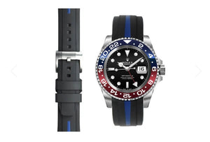 EVEREST 雙色膠帶配穿扣 CURVED END BI-COLOUR RUBBER STRAP FOR ROLEX GMT MASTER II CERAMIC WITH TANG BUCKLE ROLEX 兩地時間 GMT MASTER I & II Everest