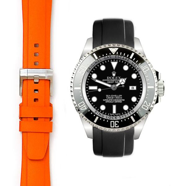 EVEREST CURVED END RUBBER STRAP FOR ROLEX DEEPSEA WITH TANG BUCKLE ROLEX 深海水鬼王 DEEPSEA Everest 膠帶配穿扣