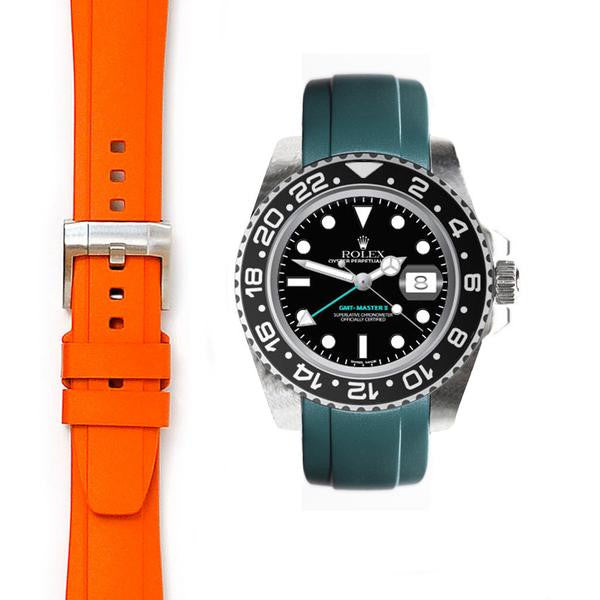 EVEREST CURVED END RUBBER STRAP FOR ROLEX GMT MASTER II CERAMIC WITH TANG BUCKLE ROLEX 兩地時間 GMT MASTER II 陶瓷框 Everest 膠帶配穿扣