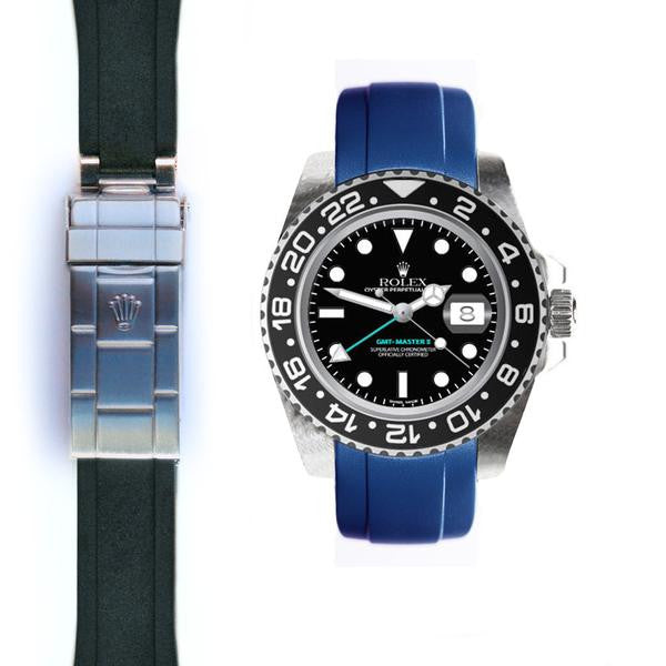 EVEREST CURVED END RUBBER STRAP FOR ROLEX GMT MASTER II CERAMIC DEPLOYANT ROLEX 兩地時間 GMT MASTER II 陶瓷框 Everest 膠帶配勞力士原廠摺疊扣