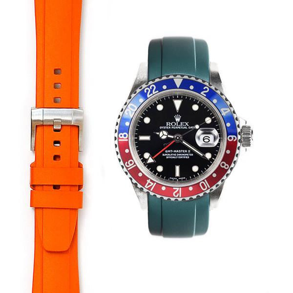 EVEREST CURVED END RUBBER STRAP FOR ROLEX GMT MASTER II CERAMIC WITH TANG BUCKLE ROLEX 兩地時間 GMT MASTER I & II Everest 膠帶配穿扣