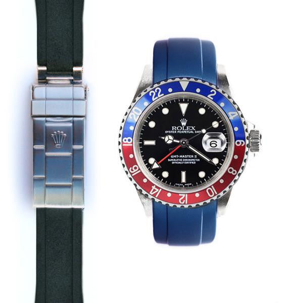 EVEREST CURVED END RUBBER STRAP FOR ROLEX GMT MASTER I & II DEPLOYANT ROLEX 兩地時間 GMT MASTER I & II Everest 膠帶配勞力士原廠摺疊扣