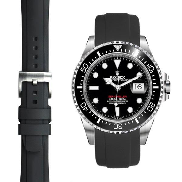 EVEREST CURVED END RUBBER STRAP FOR ROLEX  SEADWELLER 43mm WITH TANG BUCKLE 50週年單紅海使用 Everest 膠帶配穿扣