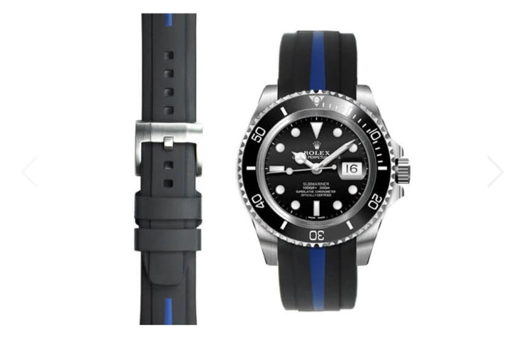 EVEREST 雙色膠帶配穿扣 CURVED END RUBBER STRAP FOR ROLEX SUBMARINER CERAMIC WITH TANG BUCKLE ROLEX 潛水系列 SUBMARINER