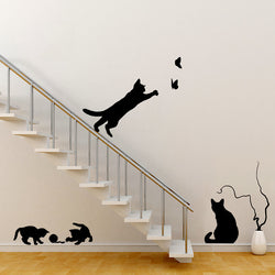 Amazing Set of Jumping Cats Wall Sticker Decals