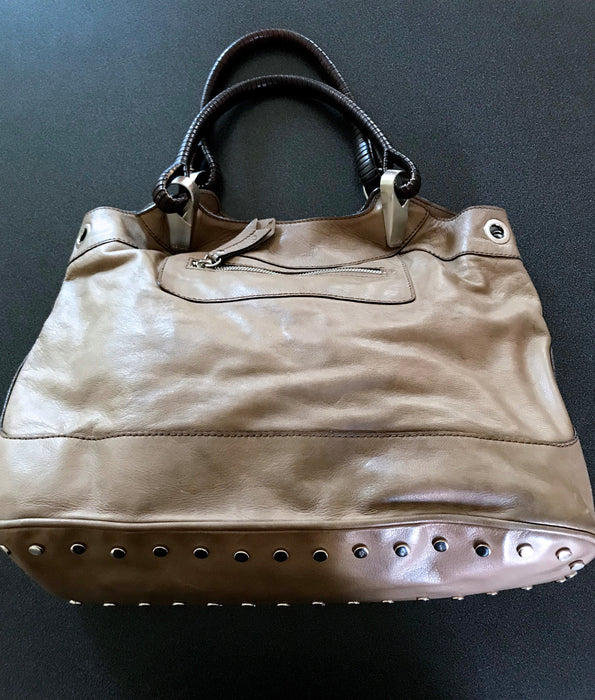 KENZO Classy Large Genuine Soft Leather Tote Khaki Caramel Beige w/ Funky Lining