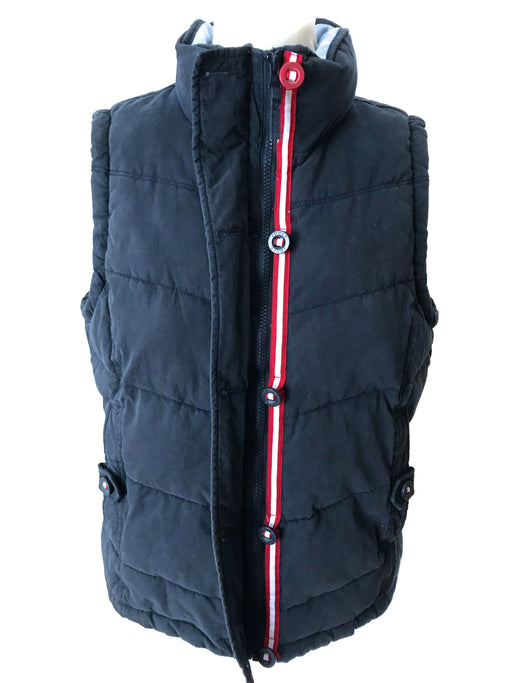 Joules Navy Blue Striped Ladies Bodywarmer Padded Gilet Vest Higham Style