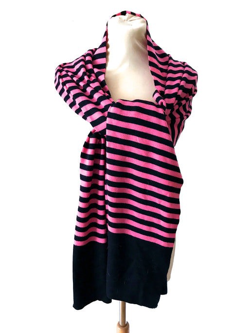 J. Crew 100% Wool Hot Pink & Navy Blue Striped Wide Long Scarf Shawl