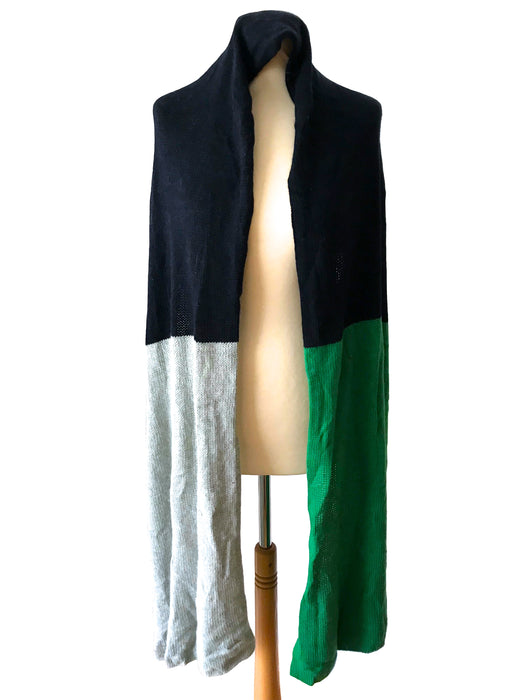 J. Crew Wool & Rabbit Hair Green Black Grey Colour Block Wide Long Scarf Shawl