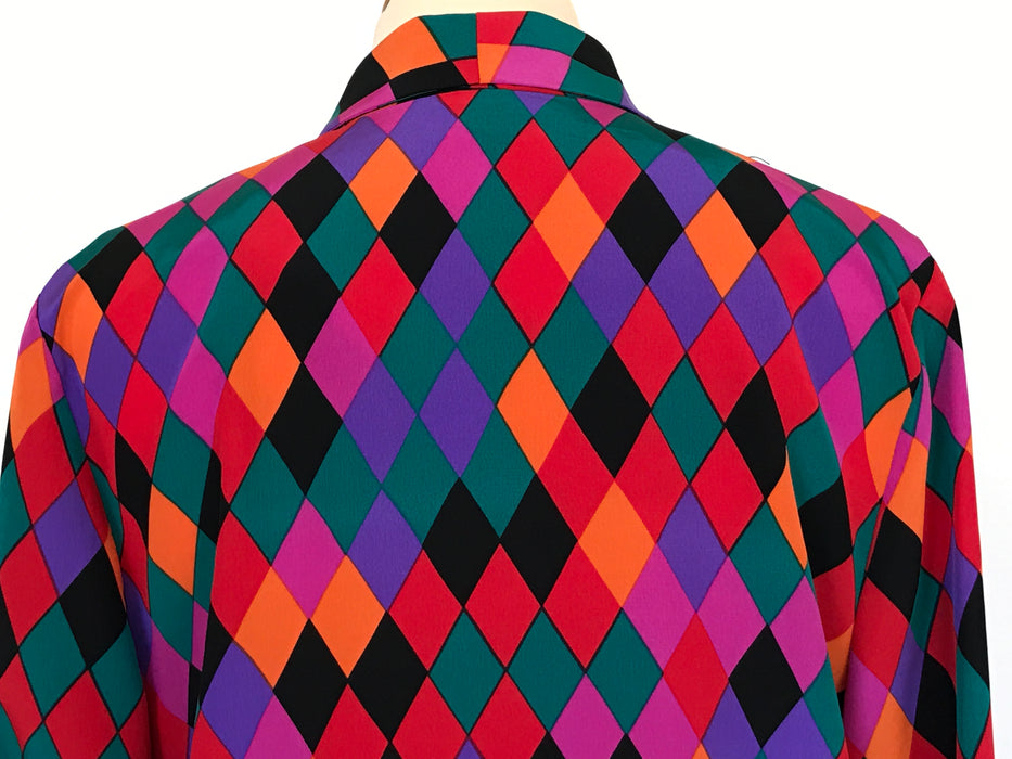 80s Vintage Bold Bright Harlequin Diamond Print Silk Rayon Multicolour button down Blouse shirt top, Smart Career blouse, Mother's Day gift