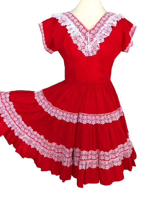 50s-60s Bettina of Miami Square Dance Scarlet Red Lace Trim Patio Full Skirt Swing Dress