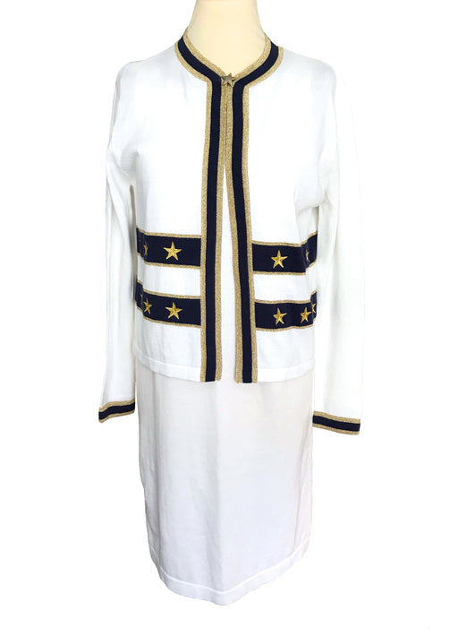 90s White Navy Blue Gold Lurex Metallic Applique Nautical Jersey Dress & Jacket Suit