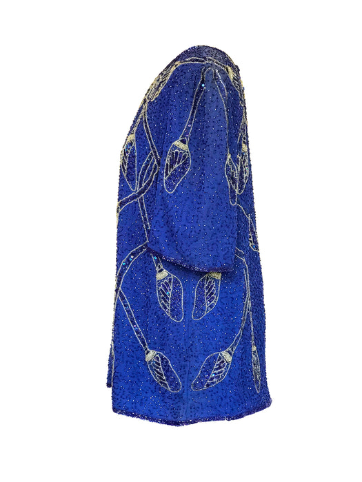 80s Azure Blue Exotic Silver Burgeons Sequin Long Tunic Party Occasion Evening Disco Top