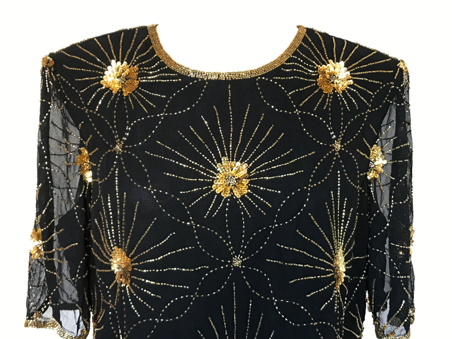 Vintage Katharine Hart Space Starburst Sheer Black n Gold Embellished Beaded Tunic Long Top