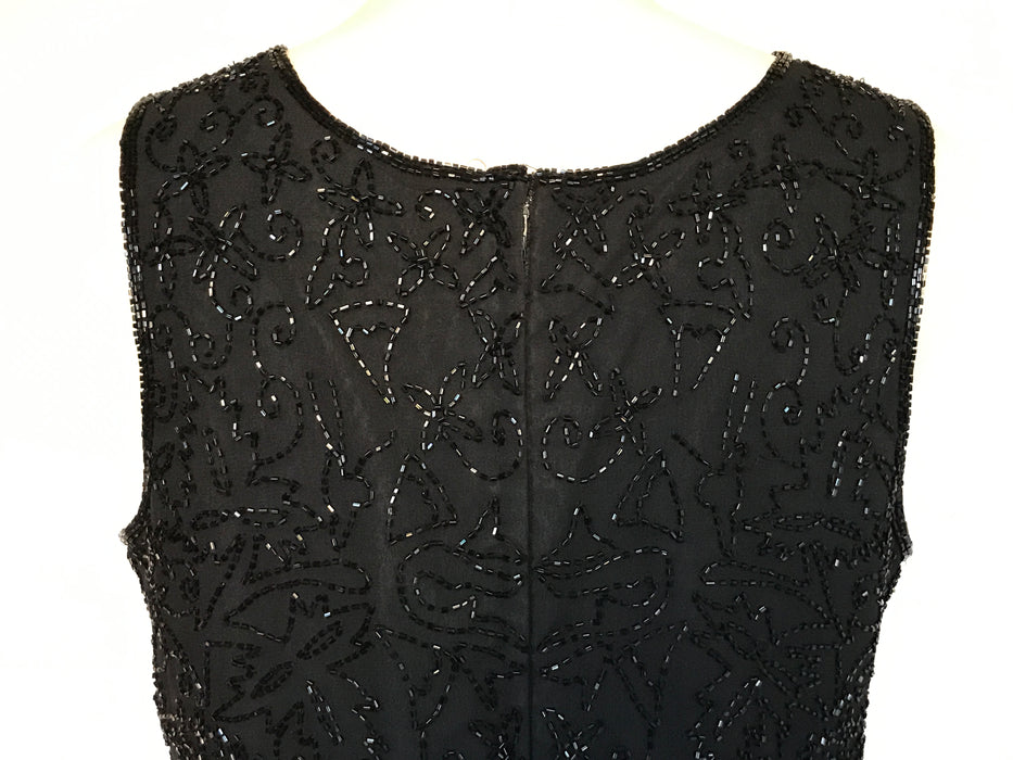 80s-90s Vintage Malvin Simple Elegance Black Sheer Silk Sequin Beaded Top