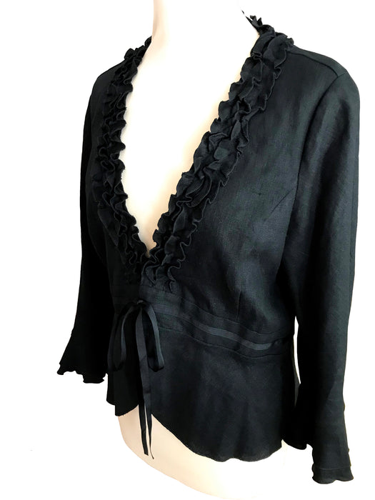 Black Linen Plunge Frilled Peplum Smart Casual Ribbon Tie Jacket