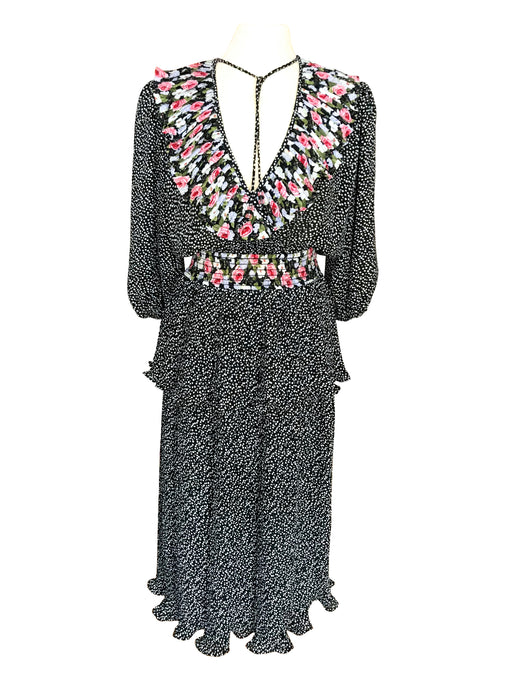 80s Chiffon Plunge Black White Polka Dot & Floral Print Plisse Pleated Midi Dress