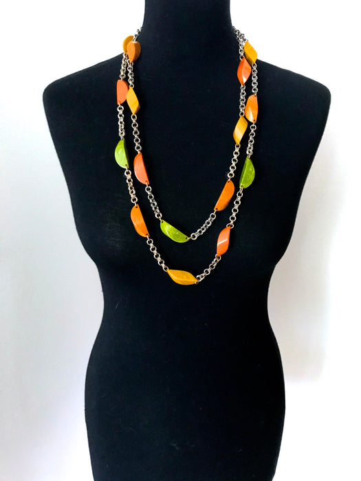 "30s Rare Antique Art Deco 60"" Long Marbled Genuine Bakelite Bead Necklace"