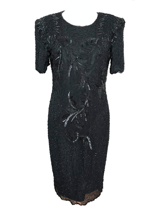 80s Vintage little black dress beaded sequined silk cocktail evening occasion dress